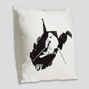 Ski West Virginia Burlap Throw Pillow