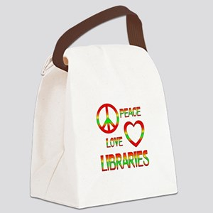 Peace Love Libraries Canvas Lunch Bag