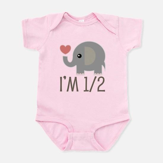 Half Birthday Baby Elephant Body Suit