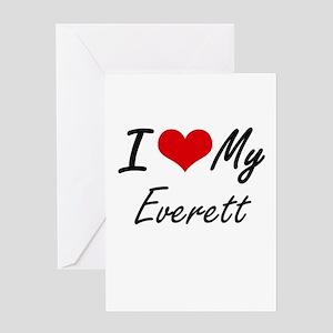 I Love My Everett Greeting Cards