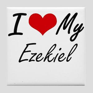 I Love My Ezekiel Tile Coaster