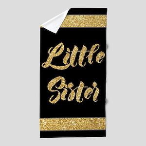Gold Glitter Little Sister Beach Towel