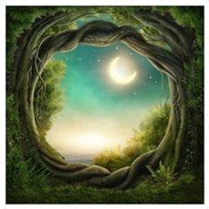 Magic Moon Tree Wall Art Poster