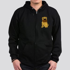 Funny Shar Pei Puppy Dog Zip Hoodie (dark)