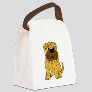 Funny Shar Pei Puppy Dog Canvas Lunch Bag
