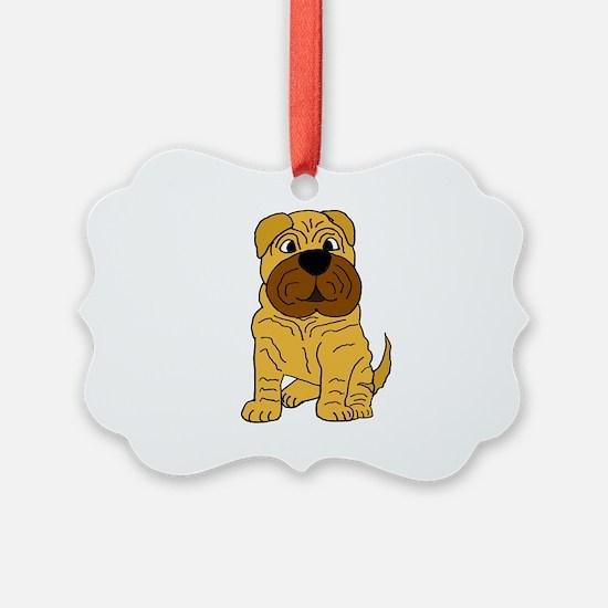 Funny Shar Pei Puppy Dog Ornament