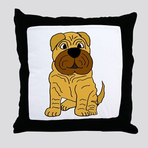 Funny Shar Pei Puppy Dog Throw Pillow