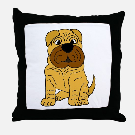 Funny Shar Pei Puppy Dog Throw Pillow