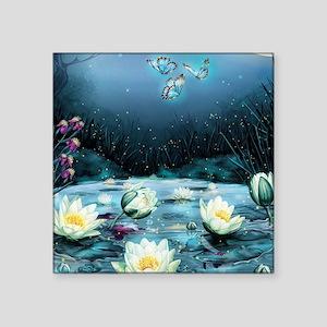 "Lotus Pond Square Sticker 3"" x 3"""