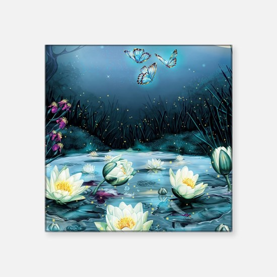 "Lotus Pond Square Sticker 3"" x 3"""