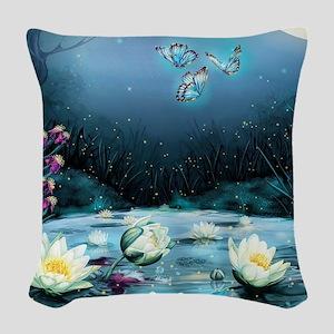 Lotus Pond Woven Throw Pillow