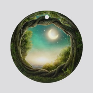 Magic Moon Tree Round Ornament