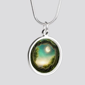 Magic Moon Tree Silver Round Necklace