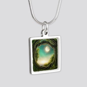 Magic Moon Tree Silver Square Necklace