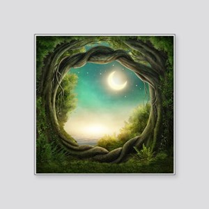 "Magic Moon Tree Square Sticker 3"" x 3"""