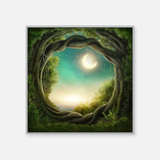 "Magic Moon Tree Square Sticker 3"" x 3"""