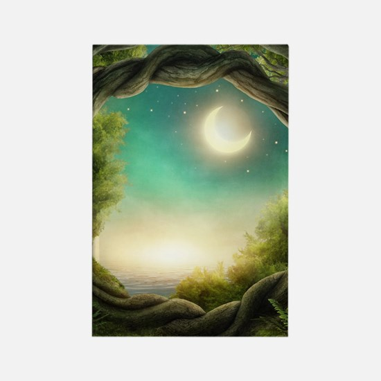 Magic Moon Tree Rectangle Magnet