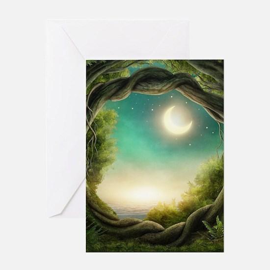 Magic Moon Tree Greeting Card