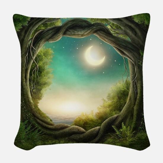 Magic Moon Tree Woven Throw Pillow