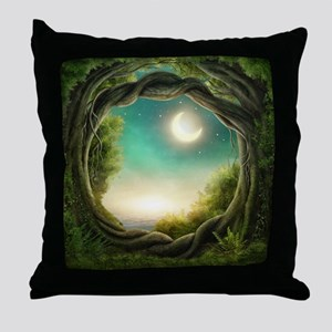 Magic Moon Tree Throw Pillow