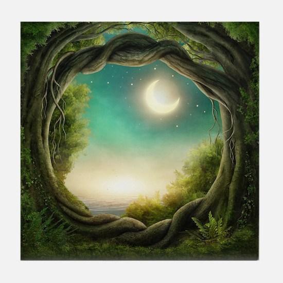 Magic Moon Tree Tile Coaster
