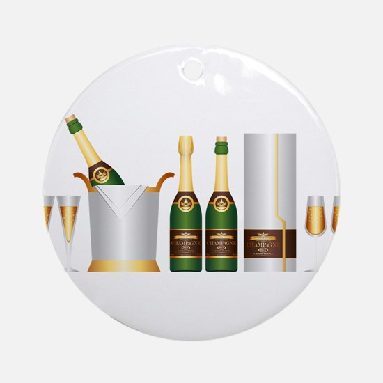champagne bottle Round Ornament
