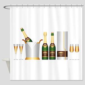 champagne bottle Shower Curtain