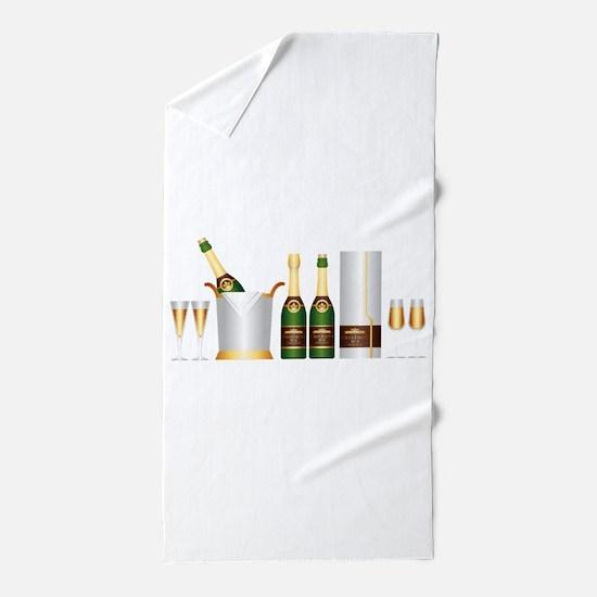 champagne bottle Beach Towel