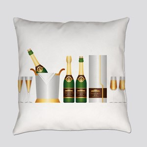 champagne bottle Everyday Pillow