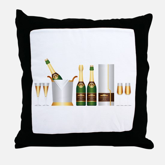 champagne bottle Throw Pillow