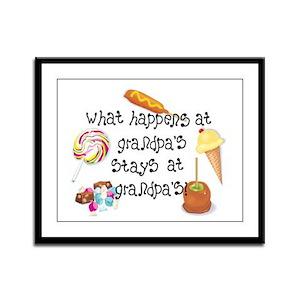What Happens at Grandpa's... Framed Panel Print