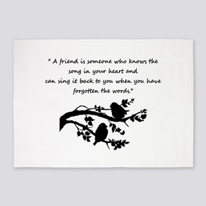 Friend Quote Song in my Heart Birds 5'x7'Area Rug