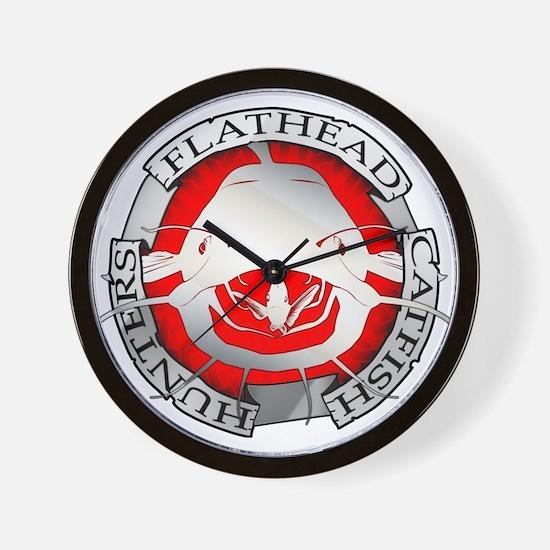 Flathead catfish hunters Wall Clock