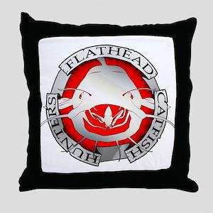 Flathead catfish hunters Throw Pillow