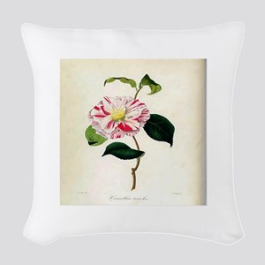 Vintage Botanical Flower Woven Throw Pillow