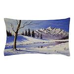 Winter lake landscape Pillow Case