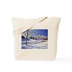 Winter lake landscape Tote Bag