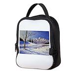 Winter lake landscape Neoprene Lunch Bag
