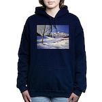 Winter lake landscape Women's Hooded Sweatshirt
