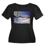 Winter lake landscape Plus Size T-Shirt