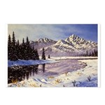Winter river scene Postcards (Package of 8)