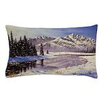 Winter river scene Pillow Case