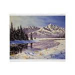 Winter river scene Throw Blanket