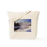 Winter river scene Tote Bag