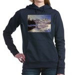 Winter river scene Women's Hooded Sweatshirt
