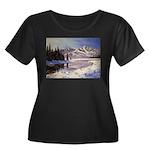 Winter river scene Plus Size T-Shirt