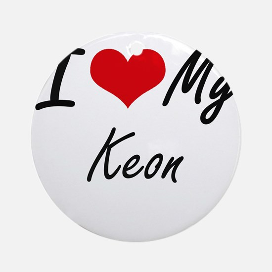 I Love My Keon Round Ornament