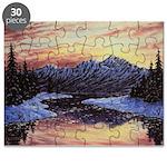 Winter sunset scene Puzzle