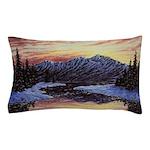 Winter sunset scene Pillow Case
