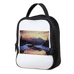 Winter sunset scene Neoprene Lunch Bag